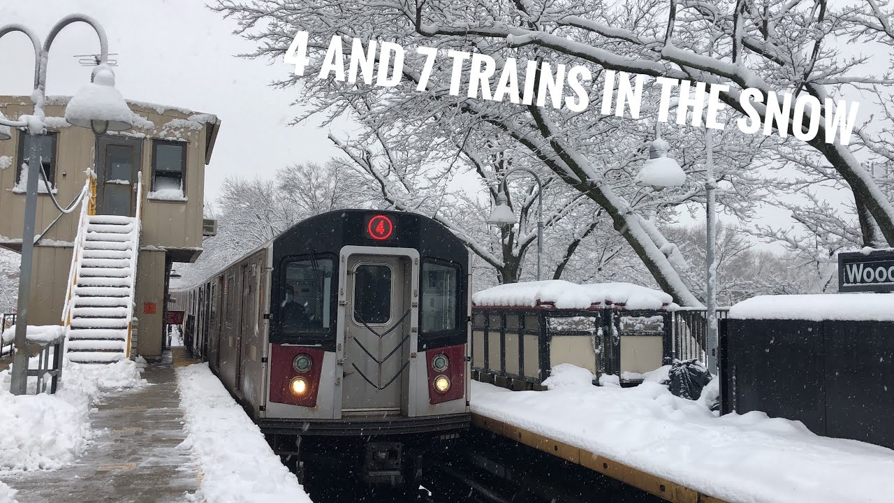 4 and 7 Trains in the Snow