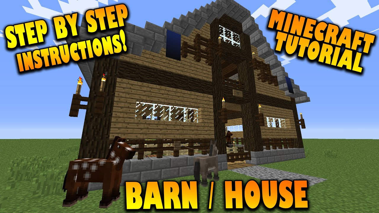 Minecraft  How To Make A Barn    House - Tutorial  House In Minecraft 1 8