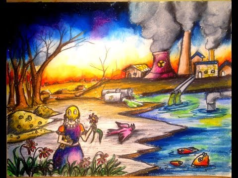 How to draw scenery of environmental pollution step by step 2017 istiak akond
