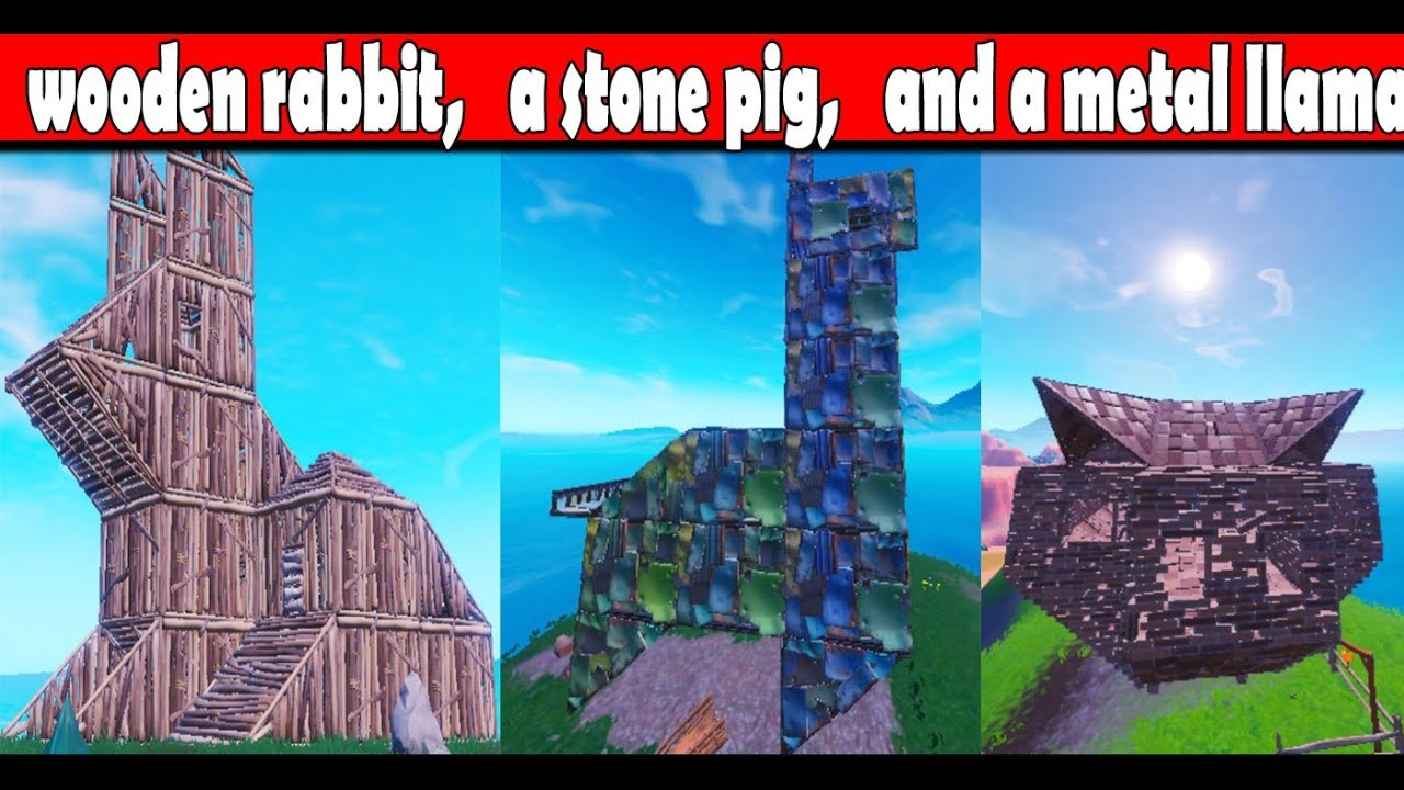 Visit A Wooden Rabbit A Stone Pig And A Metal Llama Fortnite Season 8 Week 6 Challenges 2019