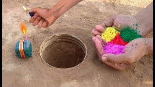Holi special : Colours in hole vs green sutali experiment || Allrounder experiment