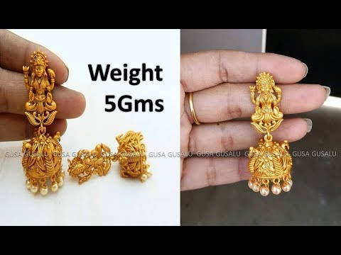 gold-earrings-designs-with-weight-|-gold-jewellery-designs