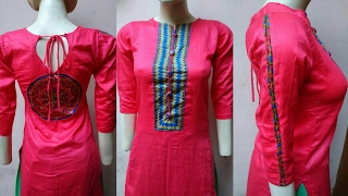 Kurti cutting and stitching with beautiful kurti neck design and designer sleeves design