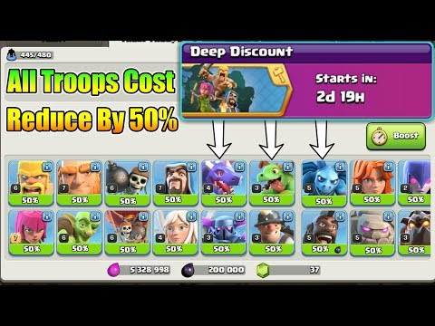 Deep Discount Event ; 50% Cost Reduced For All Troops And Resources , Attack Boost | TH12 Update