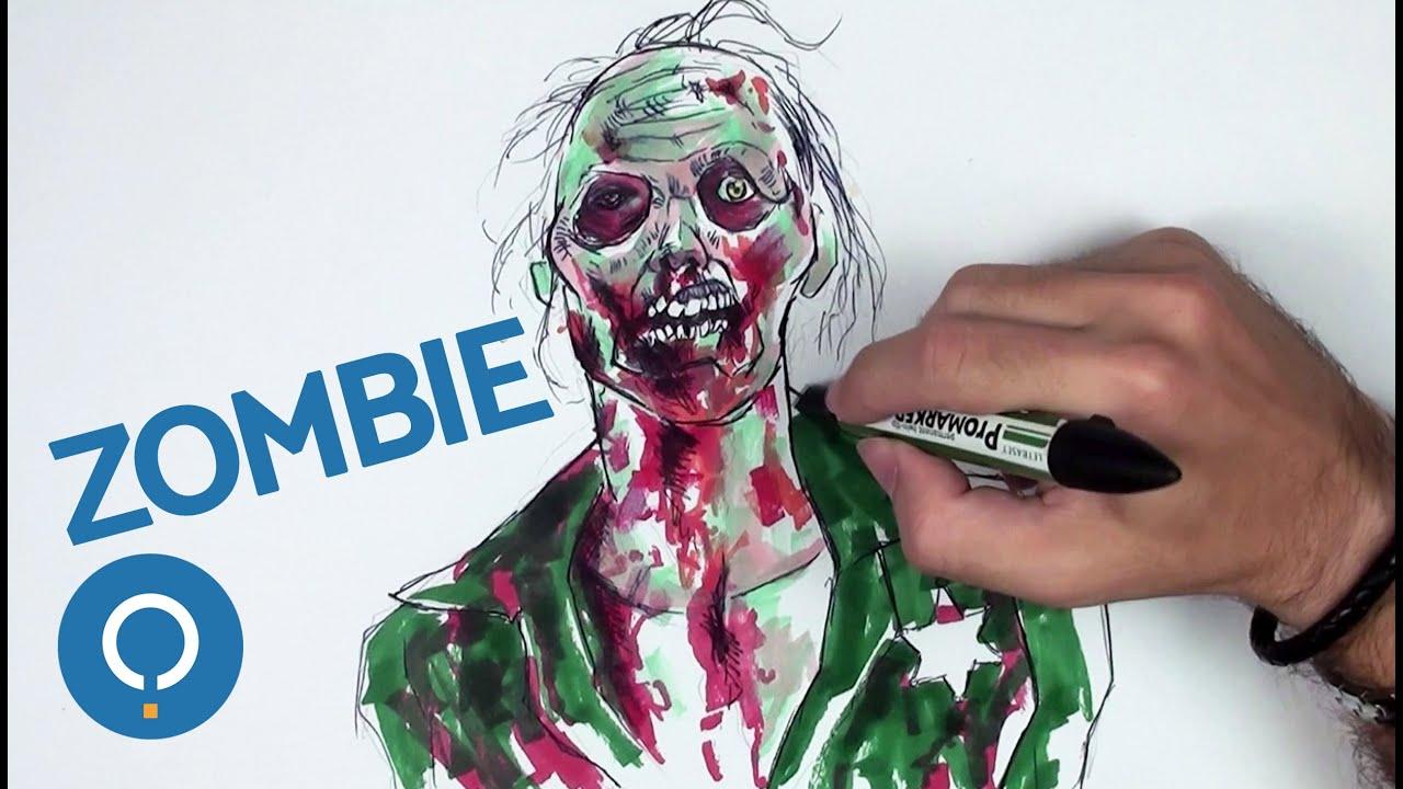 Comment dessiner un zombie r aliste youtube - Zombie dessin ...