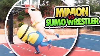 BASKETBALL 1V1 MINION VS. SUMO WRESTLER!! ft. JesserTheLazer