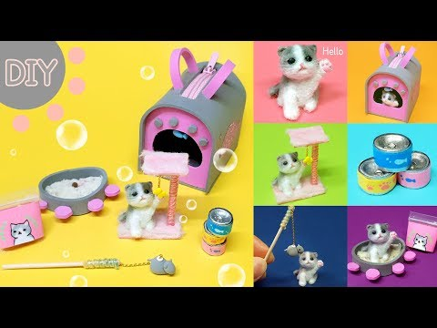 DIY 6 Miniature cat set !  -  mini cat , cat bag , cat toy ~