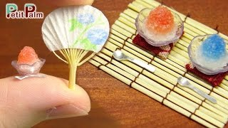DIY How to make Miniature Japanese Shaved ice & paper fan - Petit Palm