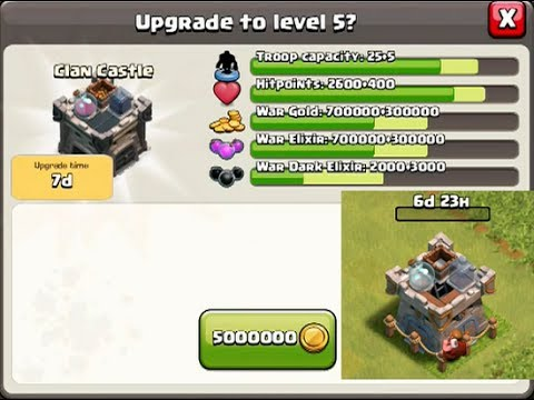 CLASH OF CLANS  Clan Castle Upgrade to level 5