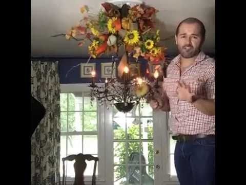 Fall chandelier how to decorate your chandelier for fall youtube aloadofball Choice Image