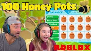 We Open 100 Honey Pots to Make Cammy's 1st DREAM PET MEGA!! Roblox Adopt Me!
