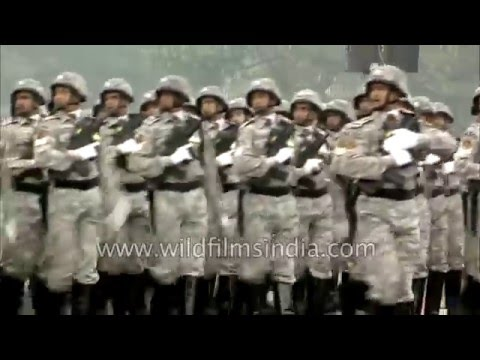 Central Reserve Police Force march on Rajpath in Delhi