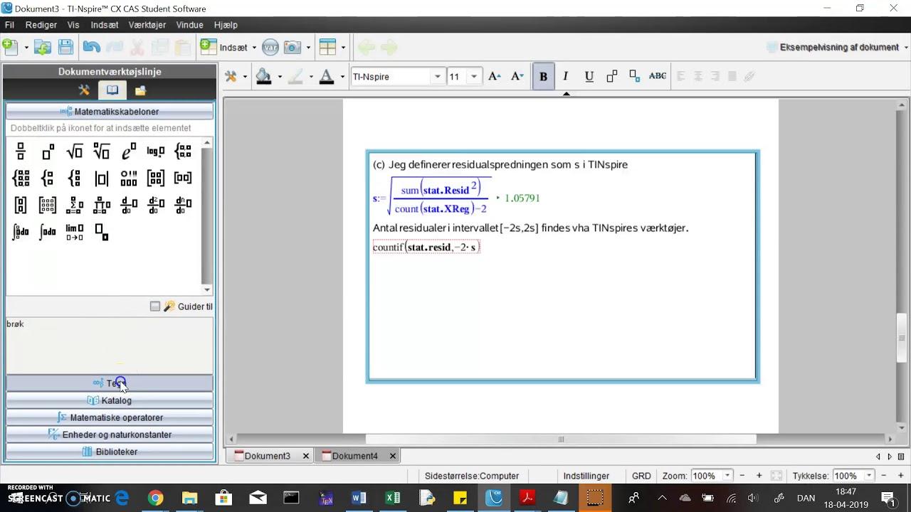 TINspire: regressionsopgave del 4 - tæl antal residualer i interval
