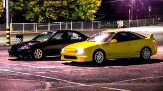 EK Civic Sedan K24 VS TYPE-R Acura Integra RACE, Honda Battle 1/4 Quarter Mile Drag Race All Motor