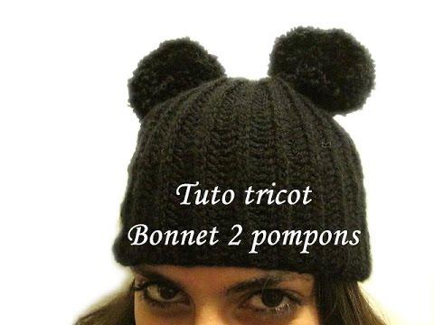 TUTO TRICOT BONNET 2 POMPONS EN COTES ANGLAISE FACILE - YouTube 5652d9ac02b