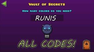 Download lagu Geometry Dash WORLD The Vault Of Secrets ALL SECRET CODES TODOS LOS CÓDIGOS MP3