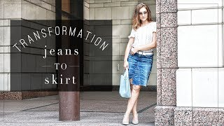 DIY | Denim Jeans to Skirt Transformation | Szilvia Bodi