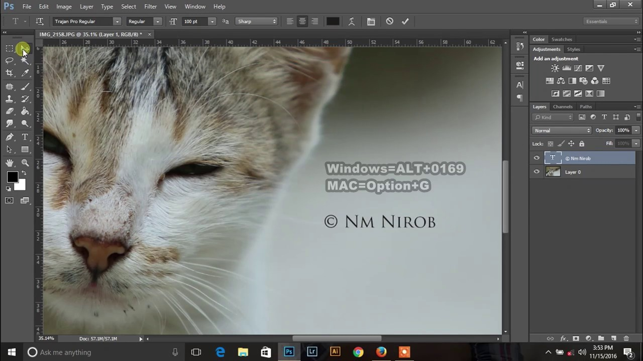 How To Add Copyright Symbol Or Watermark On Photos In Photoshop Cc