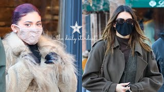 Kylie and Kendall Jenner are forced to wait outside of Prada due to Covid regulations & end up @Polo