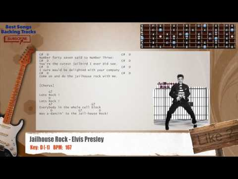 Jailhouse Rock - Elvis Presley Guitar Backing Track with chords and lyrics
