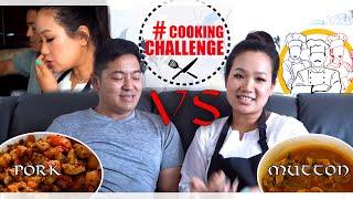 #VLOG COOKING CHALLENGE 👩🍳👨🍳 HUSBAND & WIFE    कस्ले मिठाे पकाउने ? ? 🤔🙄 खसि /सुङ्गुर 🤤