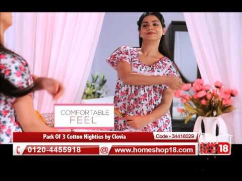 50bb54b533 Homeshop18.com - Pack Of 3 Cotton Nighties by Clovia - YouTube