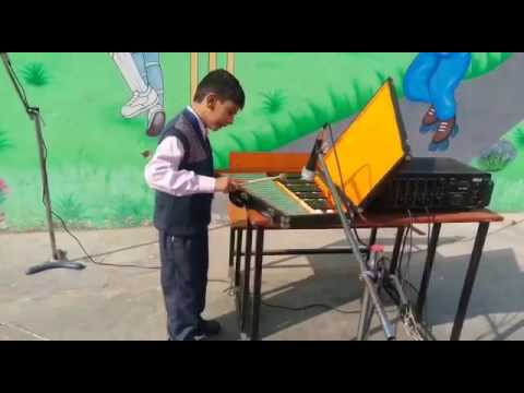Students learning music instrument.