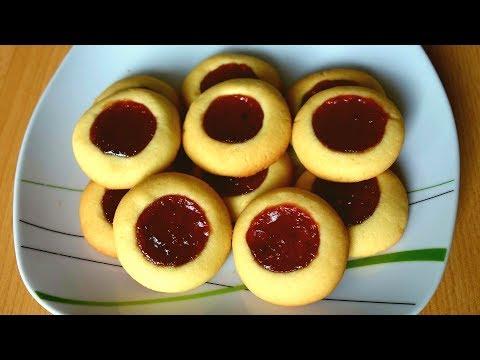 Тертое печенье с вареньем -