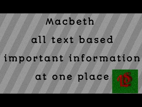 Macbeth All Important Points For Exam