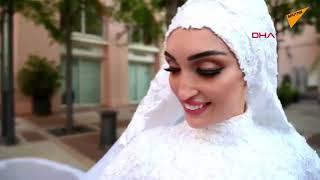 Beyruttaki patlamaya düğün fotoğrafı çektirirken yakalandı