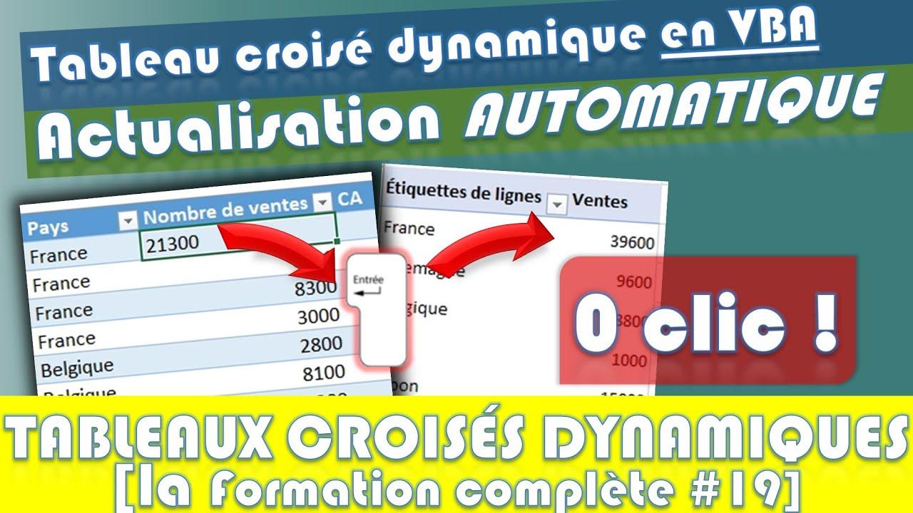 Comment Actualiser Automatiquement Un Tableau Croise Dynamique En Vba Sur Excel Youtube