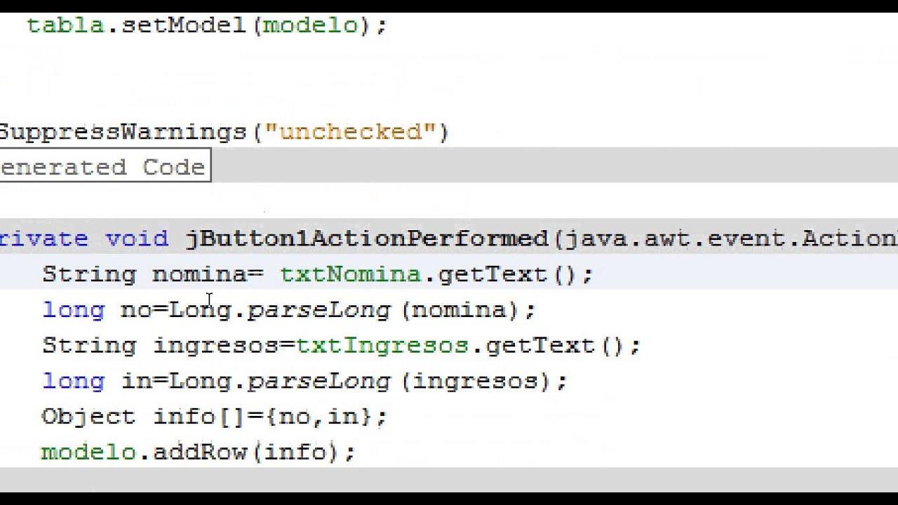 Tablas En Java Sumar Datos Youtube