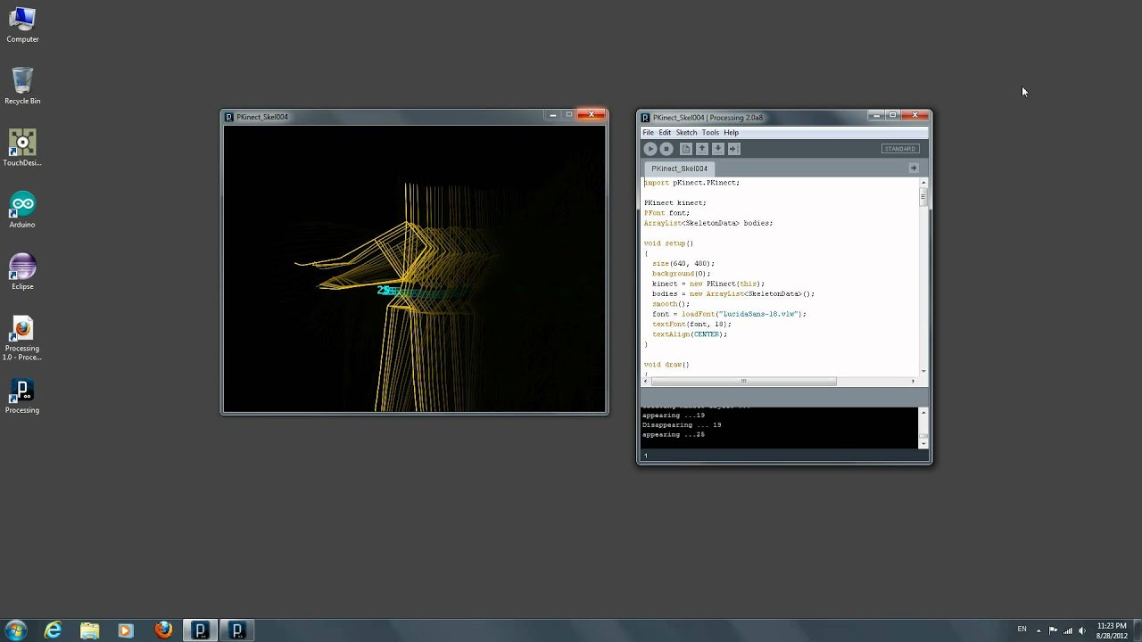 Kinect for Windows in Processing - Skeleton Tracking Updated