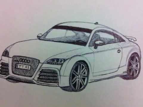 Audi TT RS How To Draw D YouTube - Audi car 3d