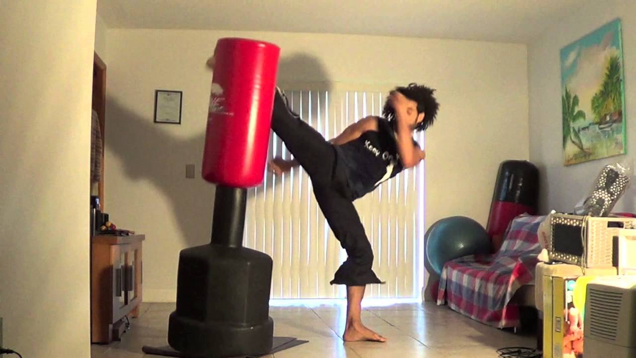 Martial Arts Kicking And Punching Combinations Bag Training