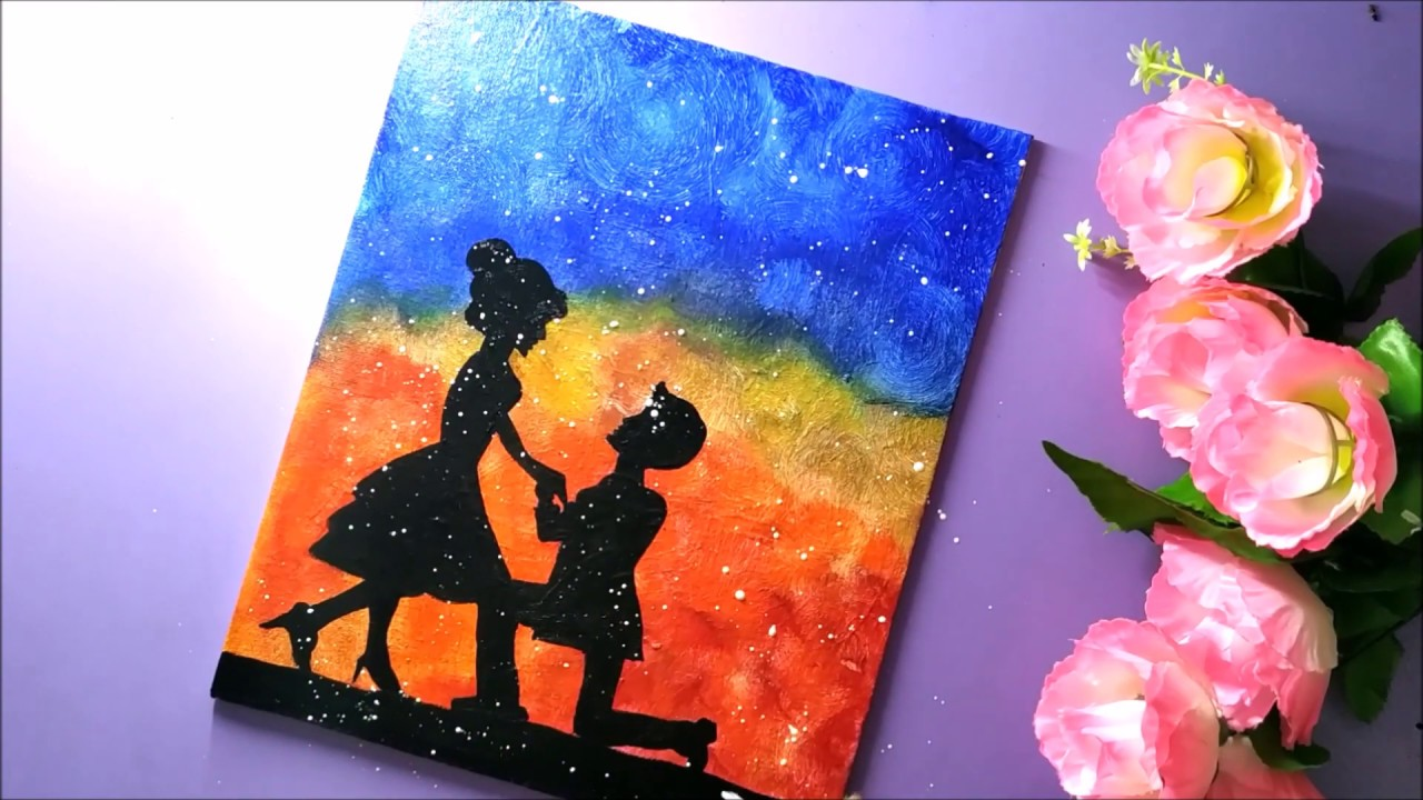 Valentine Day Couple Painting For Beginners Step By Step Easy Romantic Couple Painting Gift Ideas Youtube