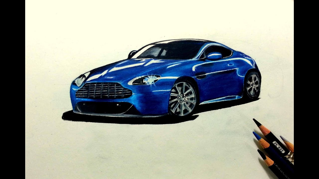Drawing an aston martin prismacolor colored pencils