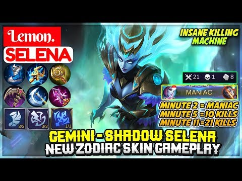Gemini - Shadow Selena New Zodiac Skin Gameplay  Lemon Selena  Lemon - Mobile Legends