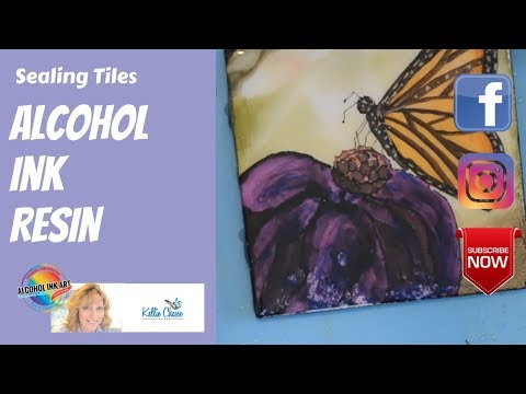 Alcohol Ink Art Techniques Sealing Resin Coaster Tile