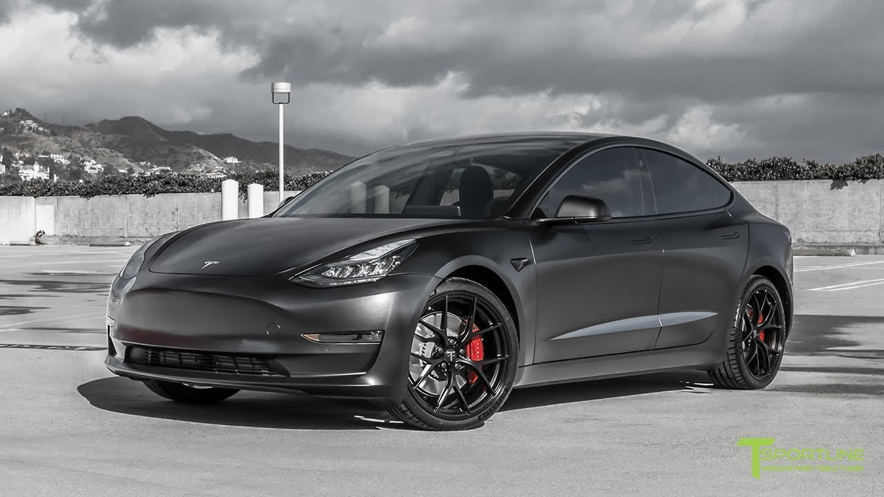 Performance Tesla Model 3 Customized with All Satin Black Look and 20