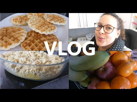 [vlog]-crumble-sans-beurre,-gaufre-avec-de-la-pâte-feuilleté-et-des-fruits-!!