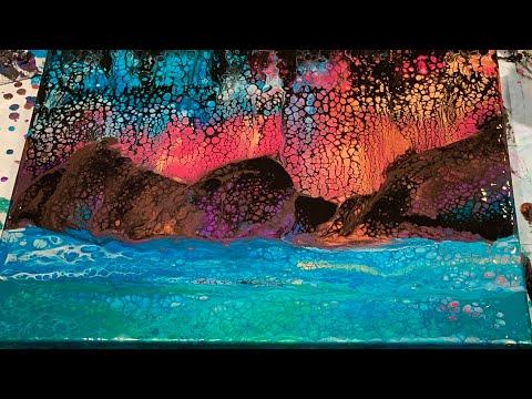 (177) Landscape Swipe - Fluid Acrylic Pour Painting - Flow Art