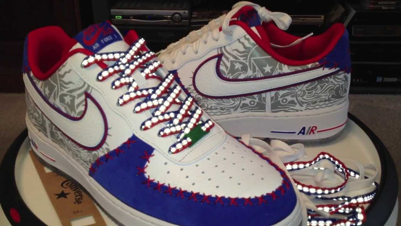 43a3d655c4 @Nike Air Force 1 Low Comfort Premium - Puerto Rico - White / Gym Royal /  University Red colorway - YouTube