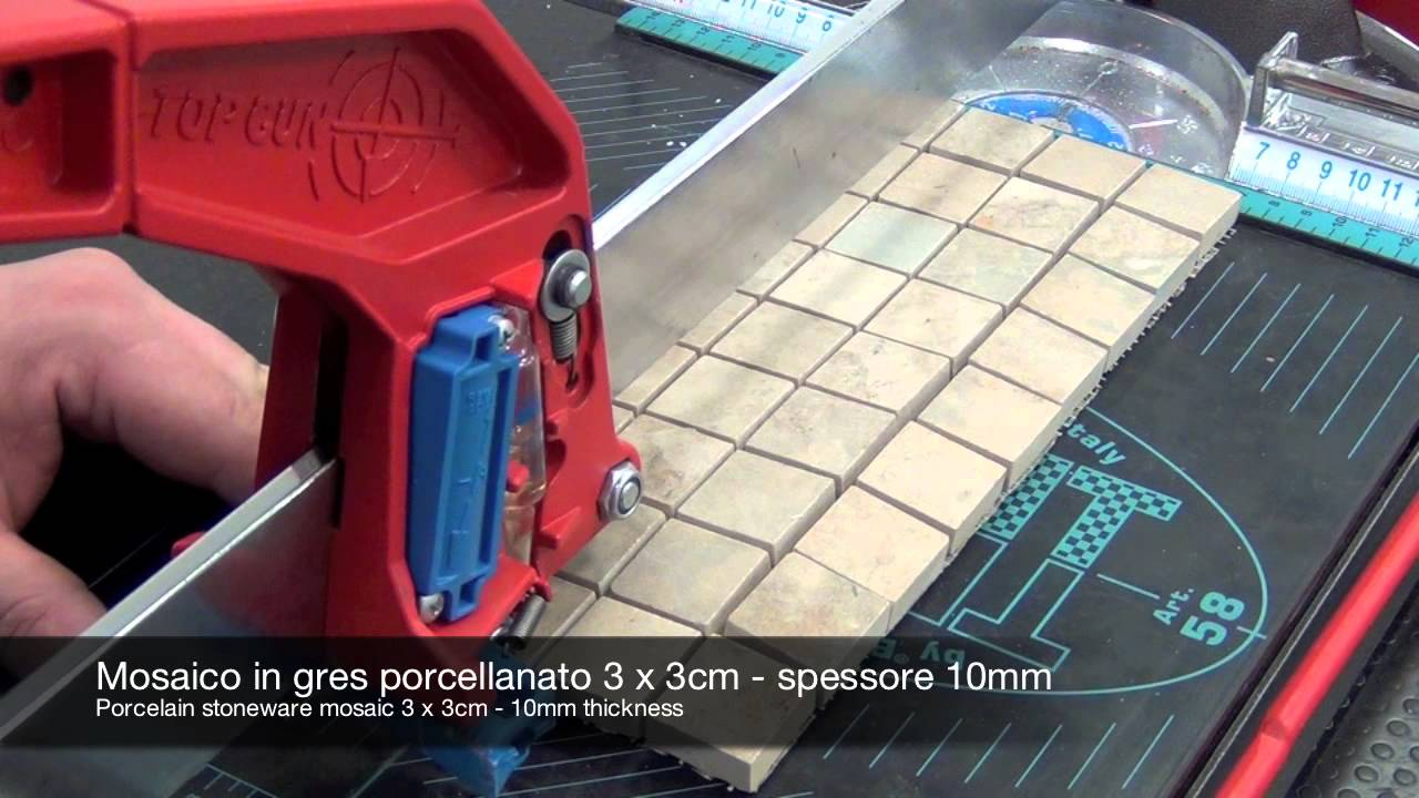 Cutting mosaic and glass with manual tile cutter - YouTube
