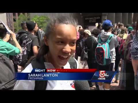 Boston students walk out of school, protest budget cuts at City Hall