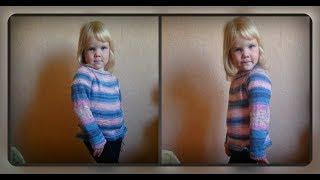 Детский свитшот регланом сверху, вязание спицами
