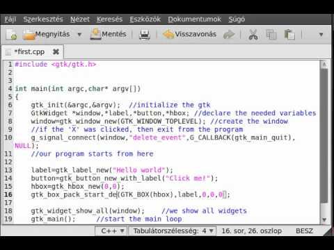 GTK+ tutorial 4 - boxes - YouTube