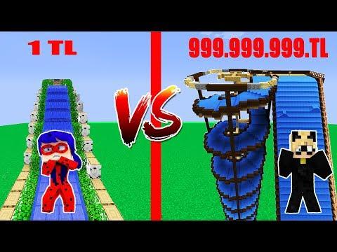 1TL SU KAYDIRAĞI VS 999,999,999TL SU KAYDIRAĞI Minecraft Ladybug Cat Noir