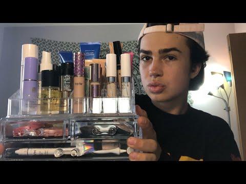 ASMR- 2018 Makeup Collection! (Tapping, Scratching, Acrylics)