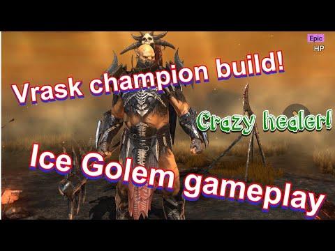Epic champion Vrask build & ice golem gameplay { Raid shadow legends }